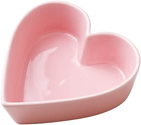 Sizikato Cute Heart Shaped Ceramic Bowl Salad Bowl Dessert Bowl Snack Bowl.