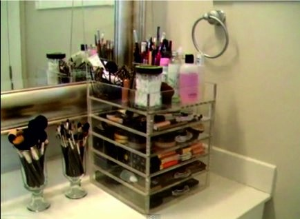 Kardashian Makeup Acrylic Lucite Clear Cube Organiser With Drawers - Acrylic cube makeup organizer with drawers