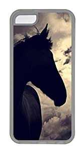 iPhone 5C Case, Horse In Sunset Personalized Slim Protective Hot Sale Soft Rubber TPU Clear Edge Case Cover for Apple iPhone 5C