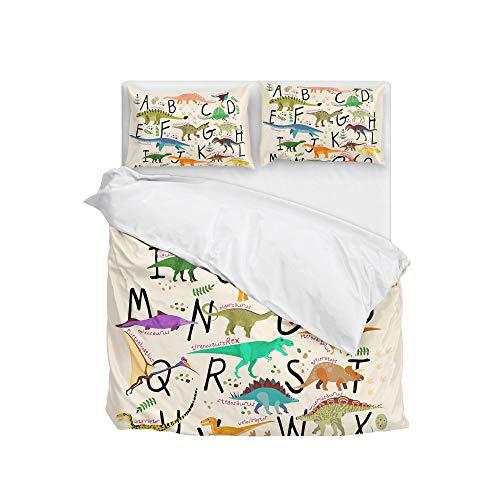 Cooper girl Cartoon Dinosaur Alphabet Duvet Cover Set Twin Soft Microfiber Polyester 1 Duvet Cover and 1 Pillow Sham Two Piece