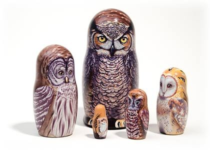 North American Owls 5 Piece Russian Wood Nesting Doll Matryoshka Stacking Dolls by Golden Cockerel (Image #1)