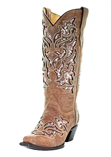 CORRAL A3578 Cognac Glitter Inlay and Embroidered Boots (7)
