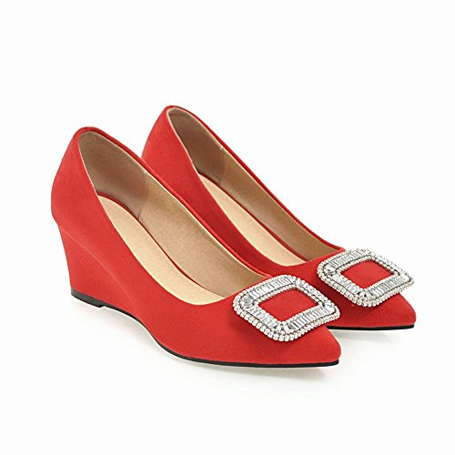 Carolbar Women's Chic Grace Diamante Mid Heel Wedge Pointed Toe Court Shoes Red-5cm 7agK20