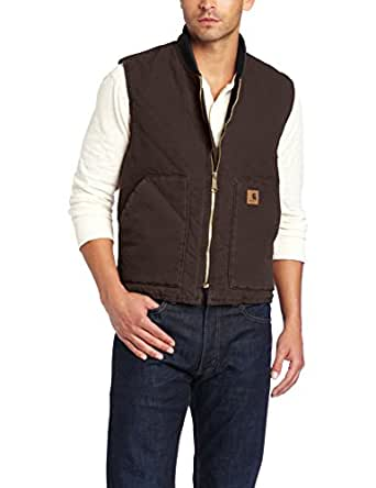 Carhartt Men's Sandstone Vest Arctic Quilt Lined,Dark Brown,XXXX-Large