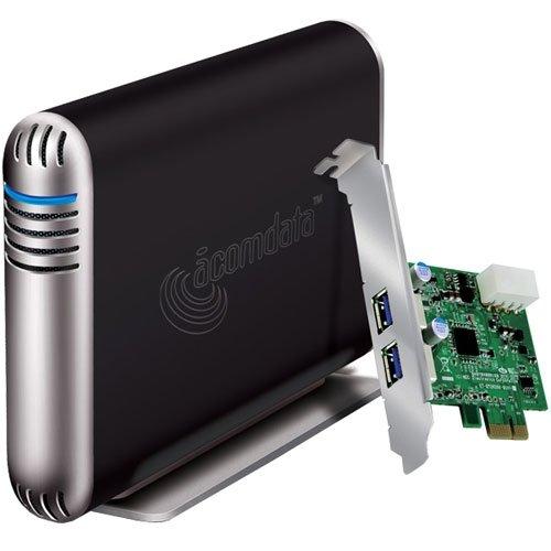 AcomData SMBXXXU3EPCI-BLK 3.5inch Samba USB3.0 SATA Enclosure Kit Retail with Two-Port PCI Express Card