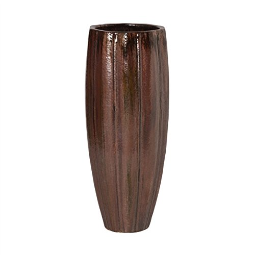 Medium Ridged Cylinder Ceramic Planter - Brown by Emissary