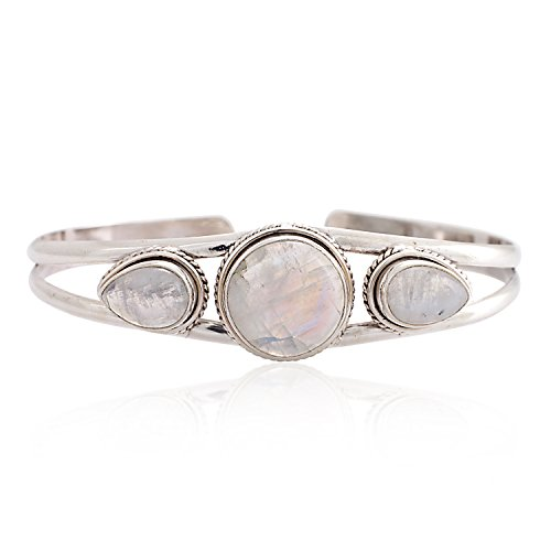 Chuvora 925 Sterling Silver Natural White Moonstone Gemstones Triple (3) Three Stones Women Cuff Bracelet
