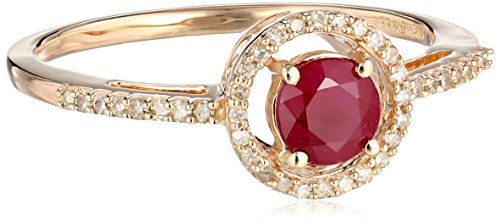 10K-Rose-Gold-Natural-Ruby-with-White-Diamond-Round-Ring-110-cttw-Size-7