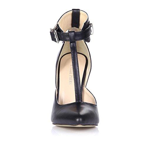 Las Mejores Sandalias De Mujer 4u® Spring Summer Premium Pu Con Punta Estrecha 12cm Las Sandalias De Goma Sole T-strap One Hebilla Bombas Negro
