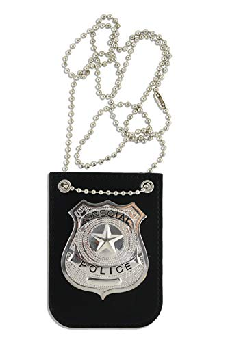 KINREX Police Badge Costume for Kids - Premium Fake Police Badge Holder - Pretend Play Dress Up Accessories - Includes Chain and Black Belt Clip Holder ()