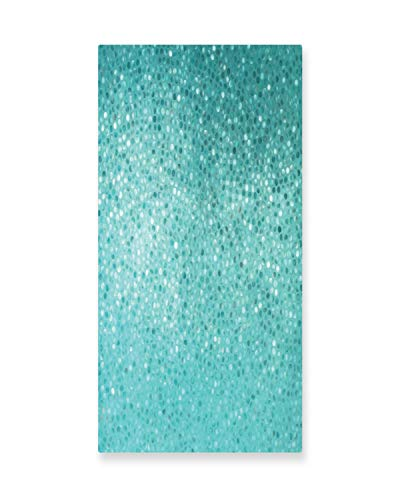 Ambesonne Turquoise Wall Art, Small Dot Tiles Shape Simple Classical Creative Artful Design, Gloss Aluminium Modern Metal Artwork for Wall Decor, 11.6 W X 23.5 L Inches, Turquoise Seafoam and Teal