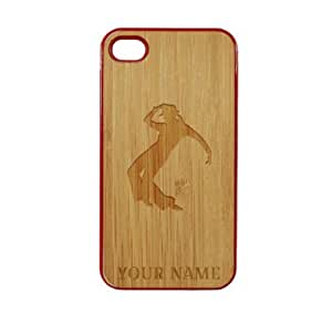 SudysAccessories Personalized Customized Custom Dancer On Wood Engraved Red iPhone 4 Case - For iPhone 4 4S 4G - Designer Real Bamboo Back Case Verizon AT&T Sprint(Send us an Amazon email after purchase with your choice of NAME)