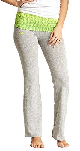 New Balance Fade Print Athletic Fold Over Yoga Lounge Pants - Light Grey/Lime - Large New Balance Womens Comfort Pant