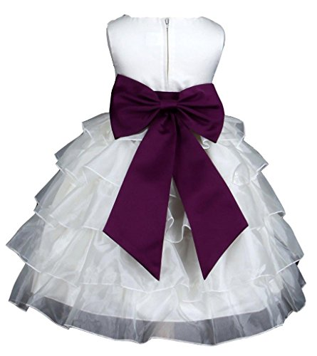 Prince Lover Girls' Wedding Tiered Organza Flower Dress 8 Ivory/Plum (Dress Plum Kids)