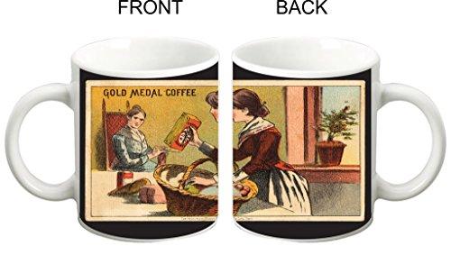 - Vintage Gold Medal Coffee Design TM White Ceramic Coffee Mug Made in the U.S.A.