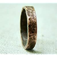 Handmade Mens Copper Band Engraved Personalized Textured