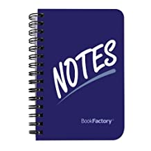 """BookFactory? Notes Notebook / Notes Journal / Blank Journal, 120 pages - 3 1/2"""" x 5 1/4"""", Durable Thick Translucent Cover, High Quality Wire-O Binding (JOU-120-M3CW-A(Notes))"""
