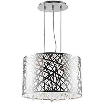 8c39deb0f8b Worldwide Lighting Julie Collection 4 Light Chrome Finish Oval Drum Shade  with Clear Crystal Chandelier 17