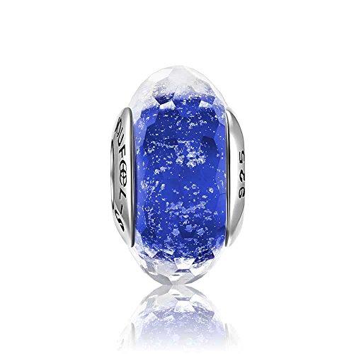 SOUFEEL Dark Blue Ice Crystal Faceted Glass Bead 925 Sterling Silver Fit European Bracelets