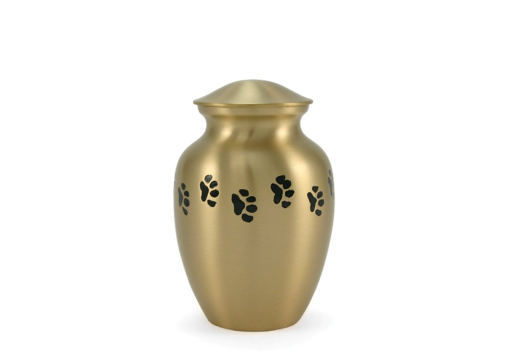 Near & Dear Pet Memorials Classic Brass Urn, 25 Cubic Inch, Black Paw Prints
