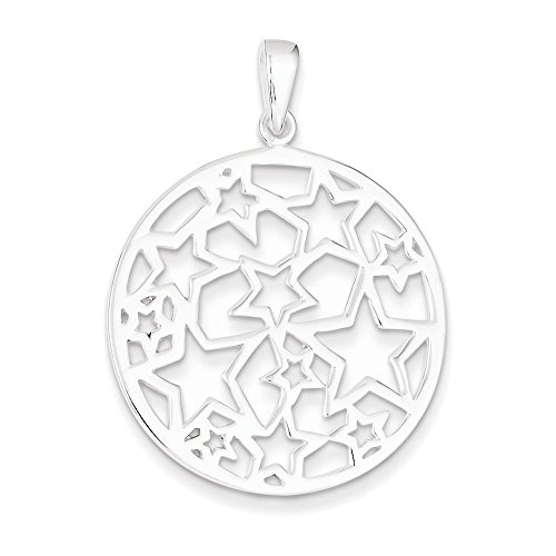 Sterling Silver Star Filigree Round Pendant (Silver Necklace Star Charm)