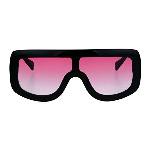Robotic Retro Funky Shield Oversize Flat Top Racer Sunglasses Black - Men Glasses Funky For