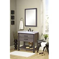 Miseno MVUMS36COM Urban Metallo 36 Vanity Set with Vanity Cabinet, Vanity Top a, Rustic Cocoa