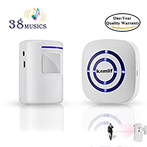 Wireless Home Security Driveway Alarm,Kamlif Entry Alert, Visitor Door Bell Chime with 1 Plug-in Receiver and 1 PIR Motion Sensor Detector Alert System, Quality Sound and LED, 38 Melodies ( White )
