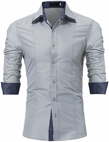 GK Hombre Camisa Moda Casual Camisa de Vestir Slim Fit Hombre de camisa de manga larga y delgada de hombres, Gris XXXL: Amazon.es: Deportes y aire libre
