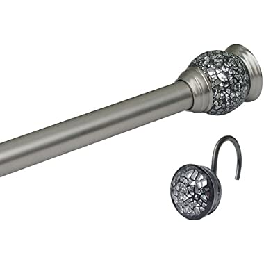 Mosaic Satin Nickel Shower Curtain Rod and Hook Set