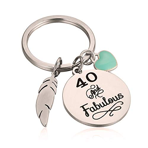 40th Birthday Gift for Her 40 And Fabulous Keychain Gift for Friends Wife Sister Daughter for Thanksgiving Christmas (40 And Fabulous)