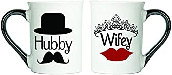 Tumbleweed - Hubby And Wifey - Set Of Two Large 18 Ounce Ceramic Coffee Mugs - Husband Gifts - Wife Gifts