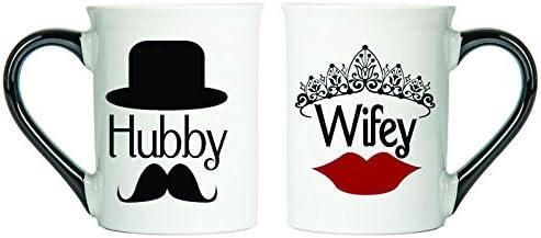 Hubby, Wifey Mugs (Mustache and Lips) Set Of Two Coffee Cups, Spouse Mugs, Ceramic Mugs, Custom Gifts By Tumbleweed