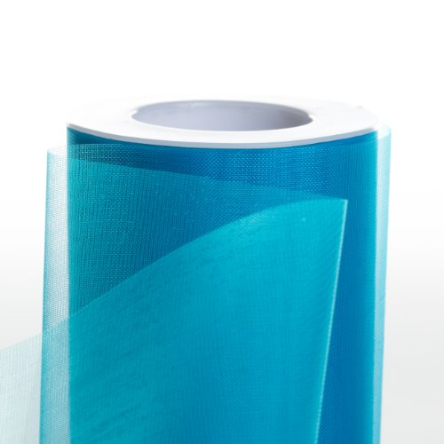 Koyal Wholesale 25-Yard Sheer Organza Fabric Roll, 6-Inch, Turquoise/Aqua Blue