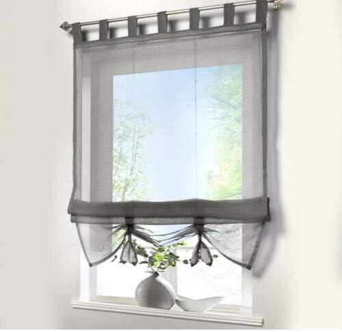 XYYSSM,Liftable Semi Sheer Roman Curtains Balcony Window Curtain Valance Drape Drapery Panels Kitchen Bedroom Living Room Bathroom Voile Shade Decorative Voile Sheer Curtains Fabric ?Gray?