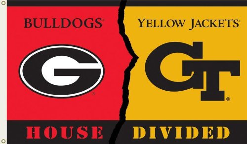 NCAA Georgia - Ga. Tech 3-by-5 Foot Flag with Grommets - Rivalry House Divided -