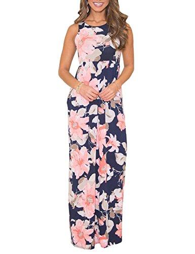Demetory Women S Summer Floral Dresses Sleeveless Racerback Empire Waist Long Maxi Dress