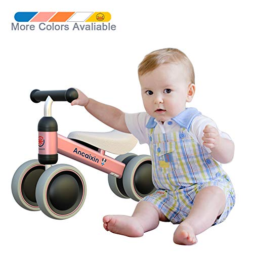 Ancaixin Baby Balance Bikes Bicycle Children Walker 10 Month - 24 Month Toys for 1 Year Old No Pedal Infant 4 Wheels Toddler Best First Birthday New Year Gift Pink -