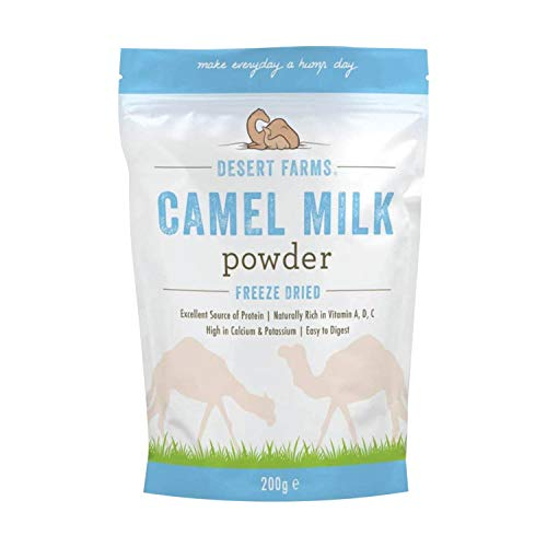 Desert Farms – Camel Milk Powder – Freeze Dried – 100% Fresh and Pure Camel Milk – Gluten-Free – Natural Whole Powdered Milk – No Additives and No Preservatives – Ideal for Your Health – 7 oz