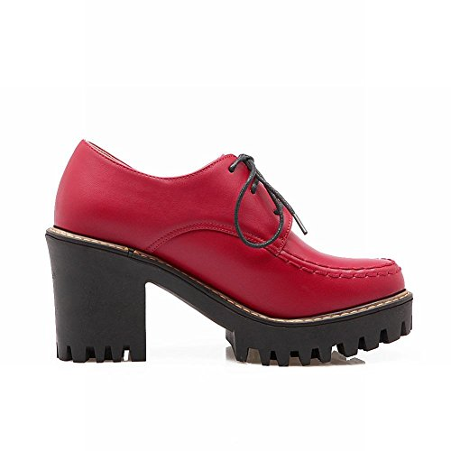 Spectacle Briller Mode Féminine Plate-forme Haute Chunky Talon Chaussures Oxford Rouge