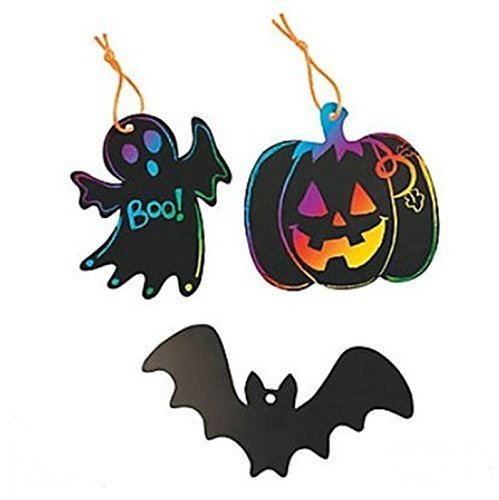 Fun Express Halloween magic scratch ornaments - Bulk lot includes 50 shapes, 50 scratching tools and 50 satin cords