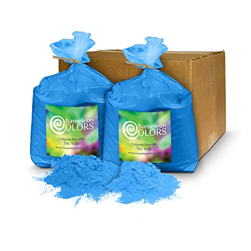 Holi Powder Gender Reveal by Chameleon Colors - 10 lbs Blue. Same premium, authentic product used for a color races, 5k, etc.