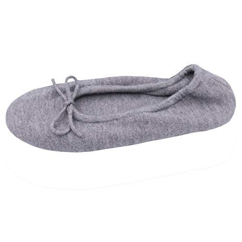 Cotton Bow GCAROL Grey Ballerina Women's Slippers with 5A6O8A