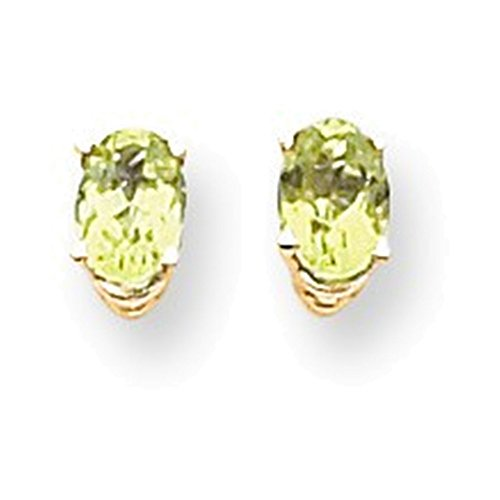 14k 6x4mm Oval Peridot earring