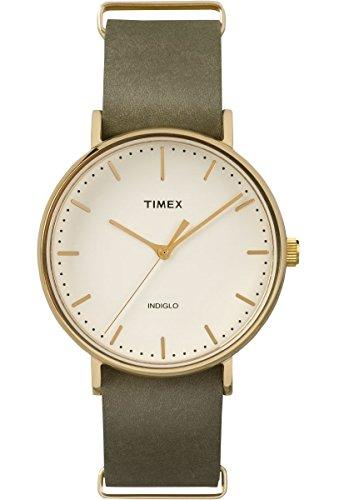 Timex Weekender Fairfield 41 | Green Leather Strap Minimal Dial | Watch TW2P98000