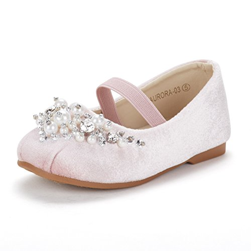 DREAM PAIRS Little Kid Aurora-03 Pink Suede Girl's Wedding Mary Jane Ballerina Flat Shoes Size 12 M US Little Kid]()