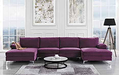 Brilliant Modern Large Velvet Fabric U Shape Sectional Sofa Double Extra Wide Chaise Lounge Couch Purple Pabps2019 Chair Design Images Pabps2019Com