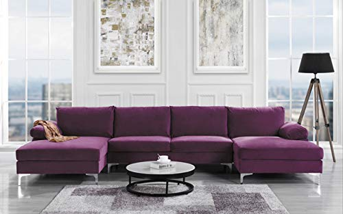 Modern Large Velvet Fabric U-Shape Sectional Sofa, Double Extra Wide Chaise Lounge Couch (Purple) (Microsuede Sectionals)