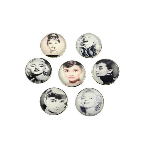 PH PandaHall 10pcs Brass Snap Buttons Flat Round Platinum Buttons with Portrait Pattern Glass Cabochons for Jewelry Making Costume Design Crafts Manual Button Painting Handmade Ornament DIY Projects