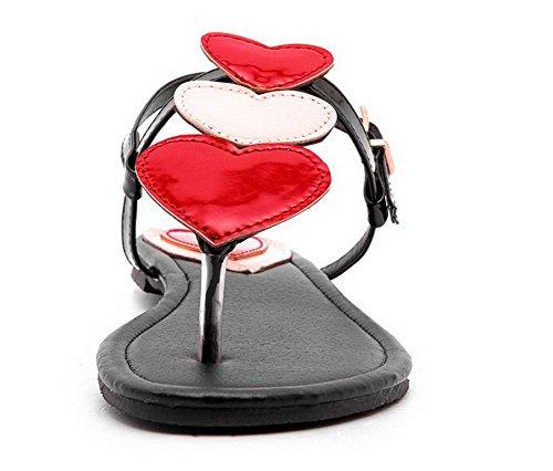 TSFLG004687 Boucle Sandales Femme Rouge à Talon Bas Couleurs AalarDom Ouverture D'orteil Mélangées TgFqqU6w